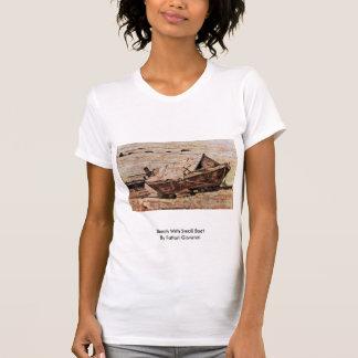 Beach With Small Boat By Fattori Giovanni Shirts