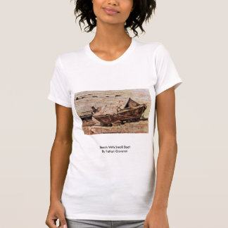 Beach With Small Boat By Fattori Giovanni Tee Shirts
