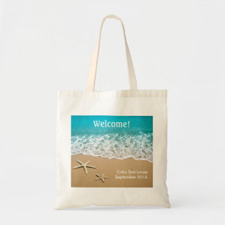 Beach With Starfish on Sand Tote Bag