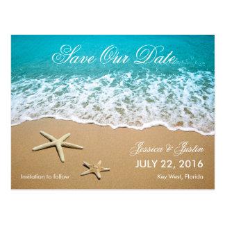 Beach With Starfish Save the Date Card Postcard