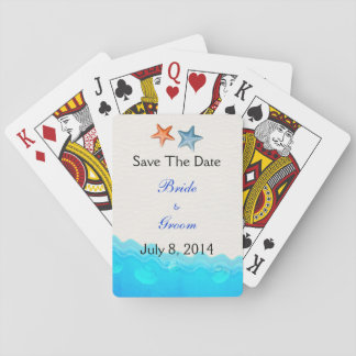 Beach With Starfish Save The Date Playing Cards
