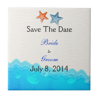 Beach With Starfish Save The Date Small Square Tile