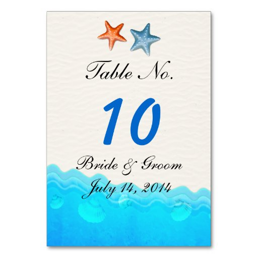 Beach With Starfish Wedding Table Card