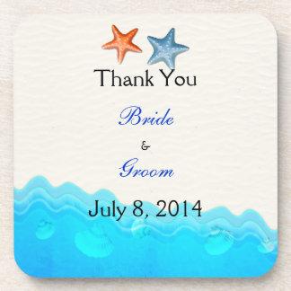 Beach With Starfish Wedding Thank You Drink Coaster