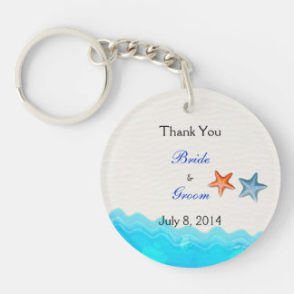 Beach With Starfish Wedding Thank You Double-Sided Round Acrylic Key Ring