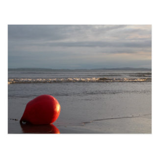 Beach With Waves Washing And Red Buoy Postcard
