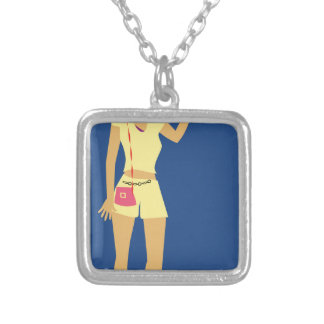 Beach Woman Vintage Silver Plated Necklace