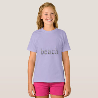 Beach Word Lila Purple Silver Text Typography T-Shirt