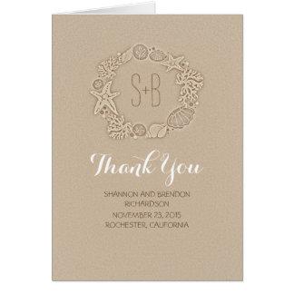 beach wreath initials romantic wedding thank you card