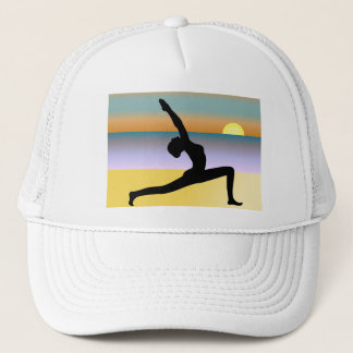 Beach Yoga Pose Silhouette Womens Hat