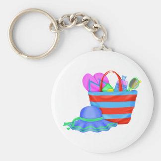 beachbag and hat multicolored key ring
