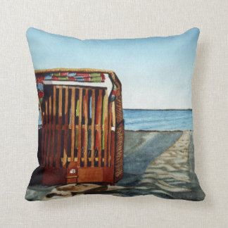 Beachchair at Sundown Throw Pillow