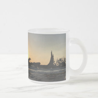 Beached Driftwood at Sunset Frosted Glass Coffee Mug