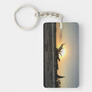 Beached Driftwood at Sunset Key Ring