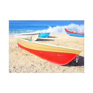 beached fishing boats canvas print