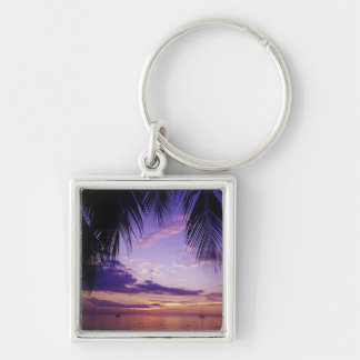 Beaches at Negril, Jamaica 2 Silver-Colored Square Key Ring