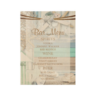 Beachfront  Bar Menu Wedding Wood Poster