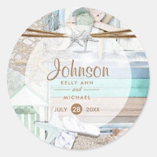 Beachfront Wedding Classic Round Sticker