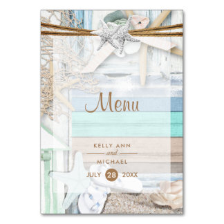 Beachfront Wedding Menu Card