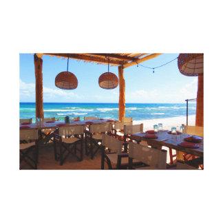 Beachside Restaurant in Riviera Maya Canvas Print