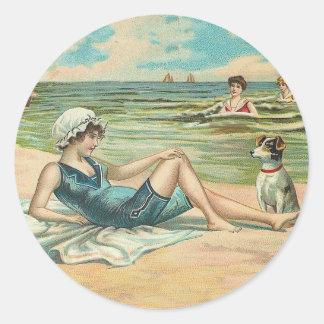 Beachy Antique Seashore Illustration Classic Round Sticker