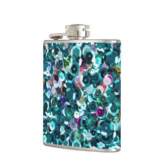 Beachy Aqua Blue Faux Sequins Hip Flask