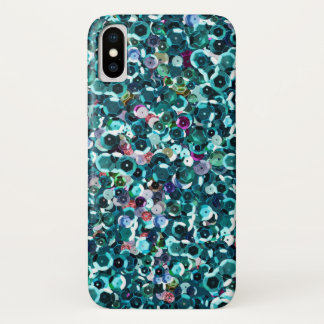 Beachy Aqua Blue Faux Sequins iPhone X Case