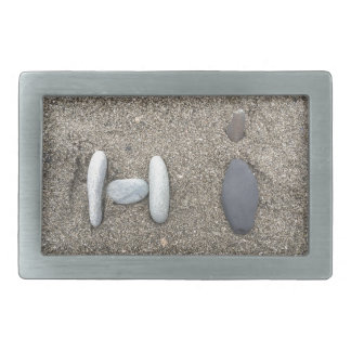 Beachy Art Sand Rock Hi Simple Cute Rectangular Belt Buckle