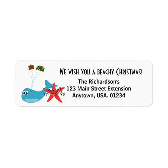 Beachy Christmas and Sandy New Year Holiday Return Address Label