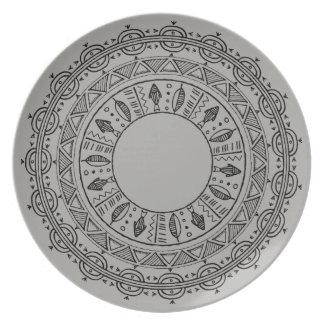 Beachy Grey Mandala Outdoor Plate