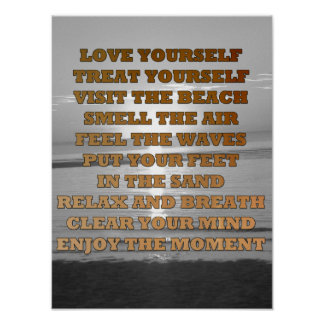 Beachy Inspirational Quote Sunset Poster