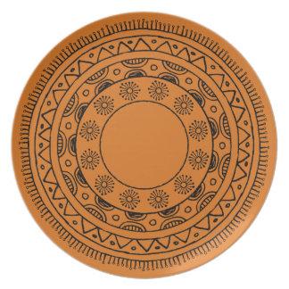 Beachy Orange Mandala Outdoor Plate