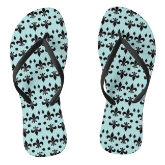 Beachy Seahorse Teal and Black Textile Sandals