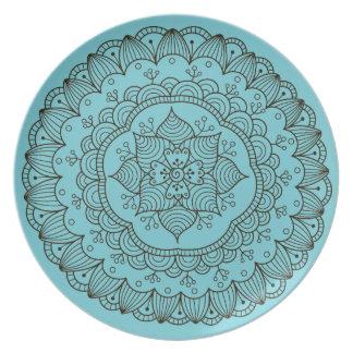 Beachy Turquoise Mandala Outdoor Plate