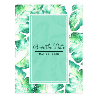 Beachy White & Green Tropical Leaves Save the Date Postcard