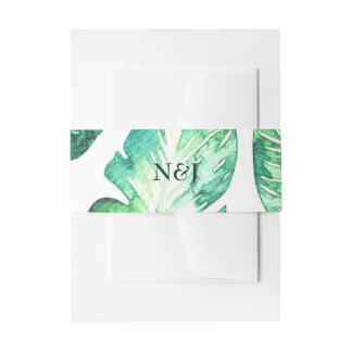 Beachy White & Green Tropical Leaves Wedding Invitation Belly Band