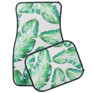 Beachy White & Green Tropical Palm Leaves Chic Car Mat