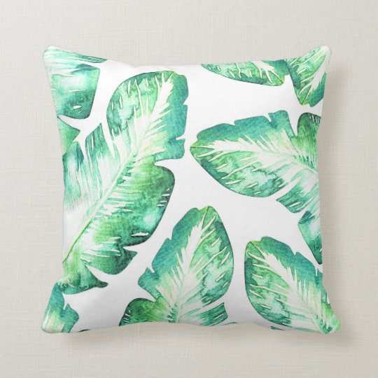 Beachy White & Green Tropical Palm Leaves Chic Throw Pillow