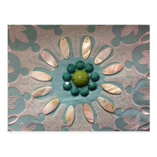 Bead Designed Flower Olive Greens and Blue Greens Postcard