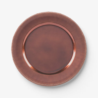 Beaded-edge faux copper/rose gold design paper plate