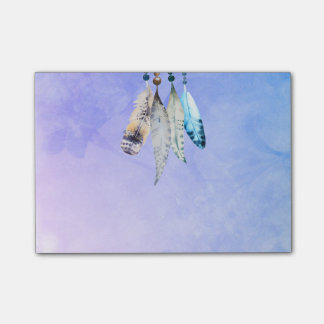 Beaded Feathers in Watercolors Post-it Notes