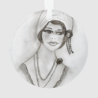 Beaded Flapper Girl Ornament