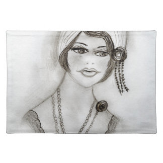 Beaded Flapper Girl Placemat