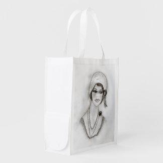 Beaded Flapper Girl Reusable Grocery Bag