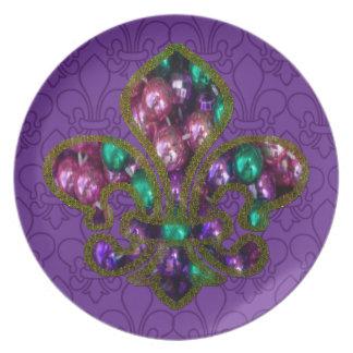 Beaded Fleur de Lis plate