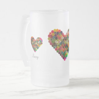 Beaded hearts frosted glass beer mug