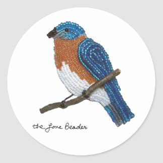 Beaded Print Eastern Bluebird Sticker