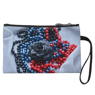 Beaded rose composition wristlet