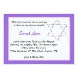 Beaded Star Purple Bat Mitzvah Invitation