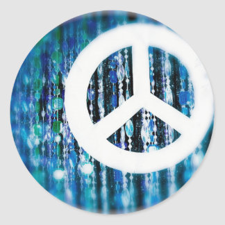 Beads, blue with peace sign classic round sticker